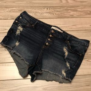 Torrid blue jean shorts size 18 distressed look